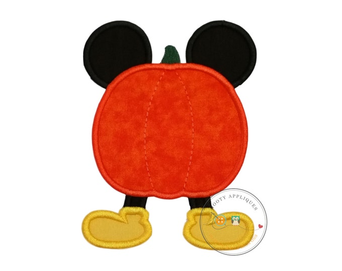 Mouse stuck in pumpkin Halloween fabric iron on applique, No sew embroidered fabric Fall pumpkin with mouse ears and bright yellow shoes