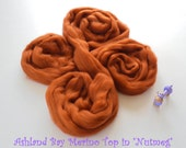 Dyed Merino Top from Ashland Bay - 2 oz of 21.5 Micron Combed Top for Spinning or Felting in Nutmeg - Brownish Orange Merino Top