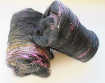Art Batts to Spin or Felt - BLACK DIAMOND - Soft Merino, Silk, Firestar & Angelina Art Batts in Black with Lots of Other Luscious Colors