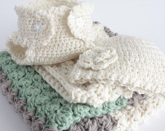 Green, fawn and cream. Extra thickness crochet baby girl layette / gift set.   Ideal Christening / shower /layette /new baby boy/girl gift.