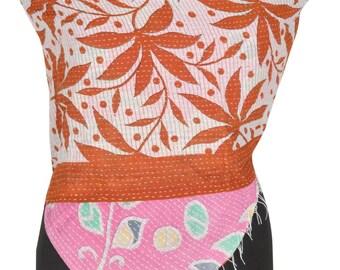 Rust Vintage Cotton Kantha Scarf Stole Pashmina Neck Wrap Womens Accessory DR10