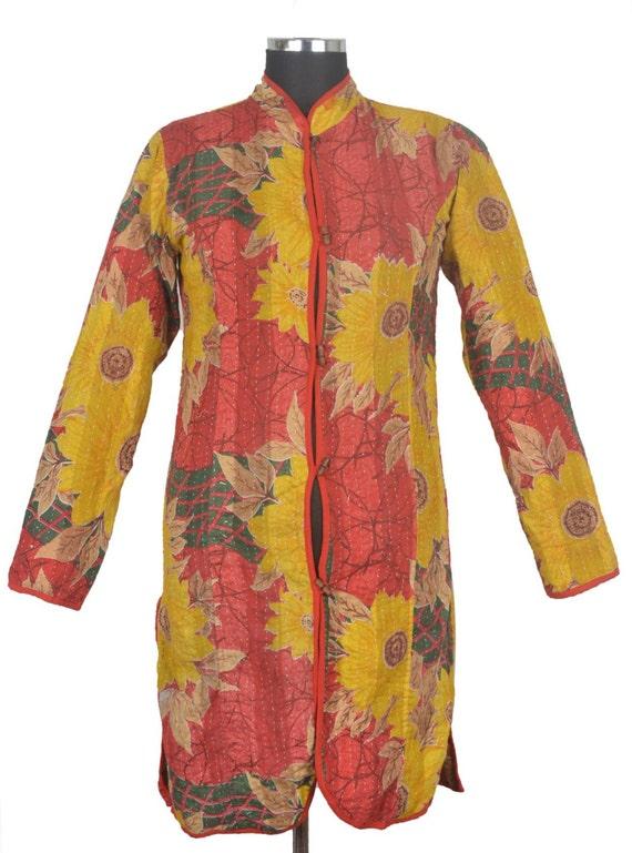 M vintage kantha long jacket reversible gudri by
