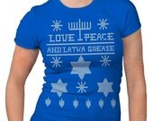 Women's Ugly Hanukkah Sweater T-Shirt funny shirt for her, merry chrismtas, holiday spirit, gift, present, stocking stuffer, jewish S-2XL