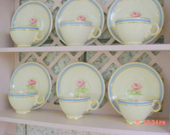 Vintage Cups Saucers Rose China Pink Blue Shabby Chic