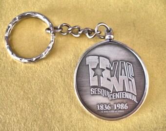 Vintage Texas Sesquicentennial 1836 to 1986 Medallion Token Key Ring Key chain