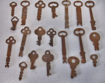 Vintage Lot of 20 Flat Rustic Keys Craft keys Altered Art Steampunk Collector Keys lot no. 20