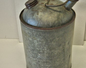 Vintage Galvanized Gas Can Farm Gas Can Ranch Gas Can Metal Gas Can 1940s no. 2