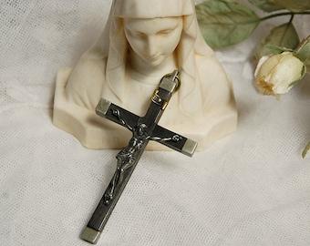 Antique French, pectoral cross, nuns crucifix, religious pendant, large vintage cross, religious jewellery, priests crucifix, catholic cross
