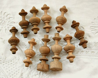 Vintage French, wooden finials, mixed media, altered art,  turned finials, wood craft supplies, vintage treen, SET of TEN