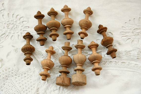 Vintage french wooden finials mixed media altered by for Wooden finials for crafts
