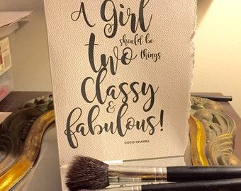 coco chanel, a girl should be, classy and fabulous [ good thoughts cards/ love cards ]