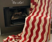 Chevron Afghan Throw Blanket Crochet - Large Vertical Light Brown and Dark Red Striped Ripple Zig Zag - Made To Order