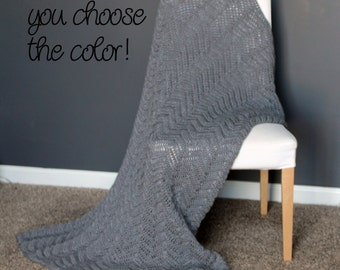 Chevron Afghan Throw Blanket Crochet - Solid Grey Ripple Zig Zag - Made To Order