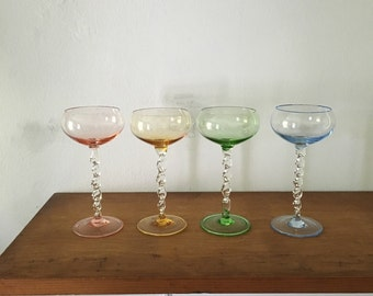 fluted pastel atomic cordial cocktail glasses. hollywood regency rainbow champagne glasses. set of 4 bar cart mid century cordial glasses