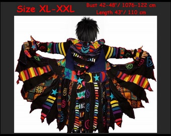 elf coat, eLf sWEATER, Sweater coat, size XL, size xxL, women hoodie, costume, gypsy, patchwork, dreamcoat, one of a kind