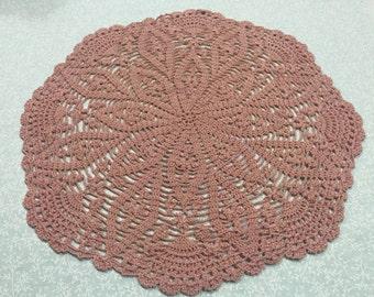 Vintage 14 inch round Mauve Pink hand crochet doily for crafts, shabby chic, housewares, linen, trim, valentines, by MarlenesAttic
