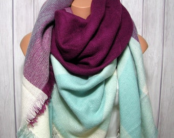 Tuesday SALE Blanket Scarf, Blueberry Mint Women's Gifts Zara Tartan Inspired, Oversized Large Unique Winter Scarves