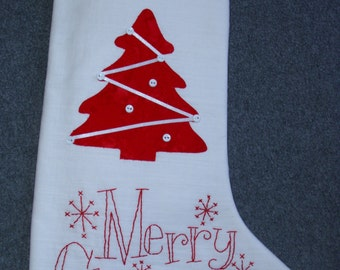 Hand embroidered white linen Christmas stocking, Urban Threads design, wedding, bridal shower, baby first christmas, newlywed 1st, holiday