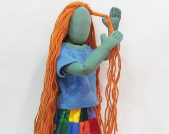"""Art doll, simple modern toy, red headed doll, soft sculpture human, 17"""" green lady doll, jointed doll with hippie patchwork skirt"""