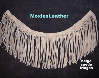 "Leather fringes tan suede 7.5"" long western"