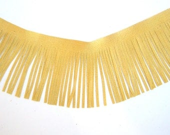 Genuine leather fringes yellow suede for Native American, tassels, purses trim 4""