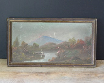 Antique Dark Mountain Scenic Painting.