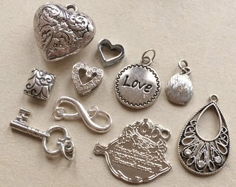 craft lot destash of silver tone metal components diy jewelry making assemblages//hearts love infinity key friends--mixed lot of 10 items