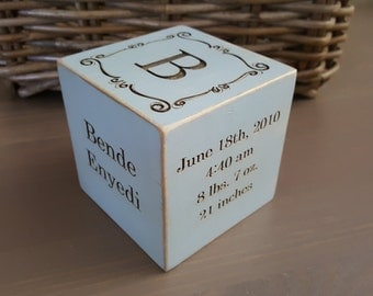 Personalized baby gift, custom baby gift, 3 in wooden block, baby gift, nursery decor, wooden cube, gift for parents, grandma's gift