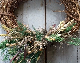 Oval grapevine wreath - Huntington. Seasonal Summer Fall Indoor Outdoor. dried flowers, grasses, moss. rustic natural organic foraged