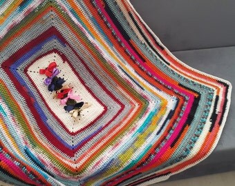 "45"" x 60"" Geometric  chevron blanket, Granny Square blanket, afghan, hand crocheted, lap blanket,multicolor stripes, rainbow stripes,"