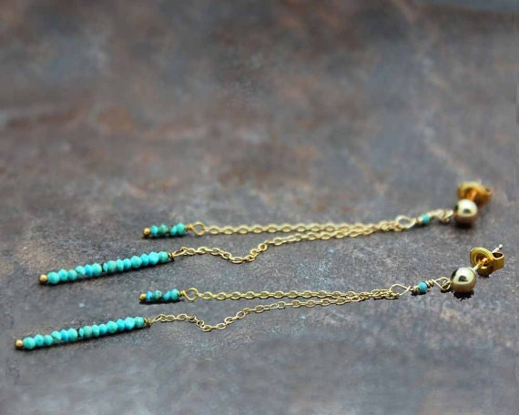 Turquoise Dangle Earrings. Delicate Post Earrings. Long Stud Earrings. Turquoise Jewelry. E-1936