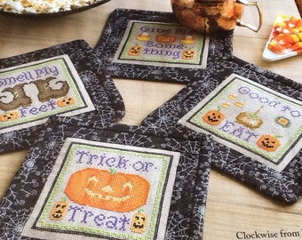 Halloween Trick or Treat Coasters - Cross Stitch Pattern Only
