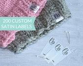 Qty 200 - Custom fold over satin label - Fold over satin tag - Custom logo labels - Custom brand label