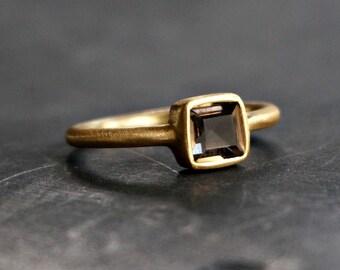 18K Gold Square Ring Smoky Quartz Ring