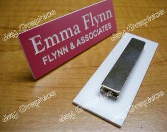 Custom Engraved 1x3 Pink Name Tag | Badge with Magnetic Closure | Employee ID | Office Business Engraving Personalized