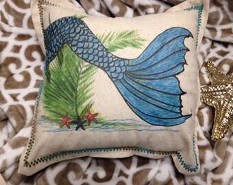 Mermaid,  mermaid pillow,, mermaid tail, coastal nautical, beach, fairies, beach decor, nursery decor