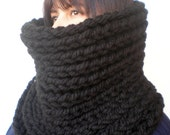 Black Extrachunky Harmonic Cowl Super Soft  mixed  Wool Neckwarmer Woman/Men Big  Chunky Cowl NEW