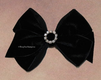 "Many Colors! Dressy Velvet Hair Bow with Rhinestone Center - 3.5"" - Holiday, Birthday, Wedding, Special Occasion RoseyBow® Hair Bow"