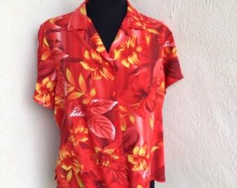 Vintage Hawaiian shirt Jams World red floral sz m