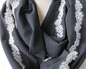Black white evening gown infinity scarf - women's scarves - one loop circle scarf with white lace trimmed scarves2012