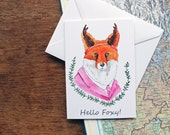 Fox Valentine Card - Animal Valentine Card - Printed Card