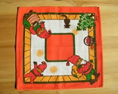 Very Decorative Vintage Swedish Christmas Small Table Napkin/ doily / serviette with Gnome / Santa his family and cat BoWa signed