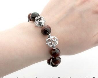 Clearance: Dragon Eye Bracelet - Sterling Silver Bracelet with Dragon Eye - Semi Precious Stone Bracelet - Red Stone Bracelet