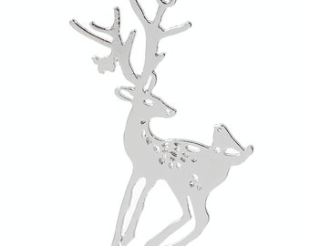 1pcs Silver Plated Deer Pendant - 60x47mm - Jewelry Finding, Necklace Reindeer, Antler, Charm, Jewelry Making Supplies, Ships from USA - A10