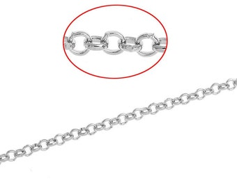 32ft Silver Tone Cable Chain - 2mm - Wholesale Jewelry Finding, Bulk Jewelry Making Supplies, Necklace, Bracelet, DIY, Ships from USA - CH47