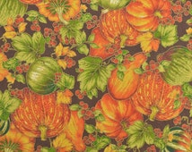 Cotton Quilting Fabric Fall Fabric Pumpkin Fabric Gourds Orange and Green Harvest Fabric - 1 Yard Plus - CFL1539