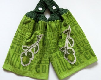 Lime Aide Crochet Top Kitchen Hand Towel Set of 2