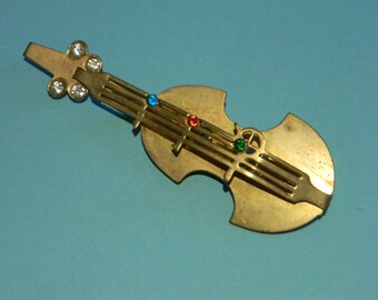 Cello Brooch, Brass,  Rhinestones, Musicians, Intrument, Music, Unique