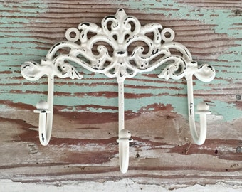 Decorative Wall Hook /  Cream White / Shabby Chic Hook  / French Country Decor / Key Hook / Shabby Chic Decor