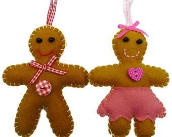 Mr and Mrs Gingerbread Christmas Decoration